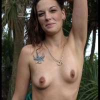 Small Hard Nipples - Brunette Hair, Erect Nipples, Hard Nipple, Topless , Tattooed Chest, Smiling Outdoors, Bluebird Tattoo, Topless Outdoors, Small Titties, Hard Nips, Tattooed, Clean Underarms, Smiling Brunette, Rock Hard Nipples, Breast Shot