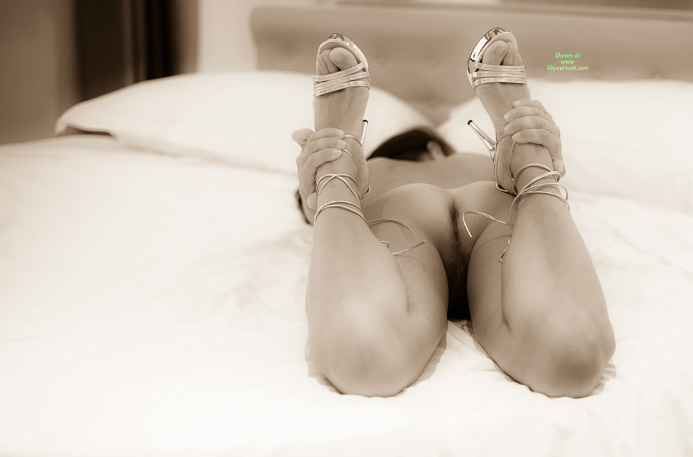 Back In Bed With Heels - Brunette Hair, Heels , Legs In The Air, Lying On Her Stomach, From Behind With Shoes, Cute Toes, Body Stretch With Great Ass, Grabbin Her Ankles, Face Down Away From Camera, Sexy Shoes, Brunette On Tummy, Laying On Bed From Behind, Artistic Position, Holding Her Ankles, Bare Toes, Lying On The Bed Showing Her Privacy, Feet Up, Held By Hands, Laying On Bed Ass Ass Shot