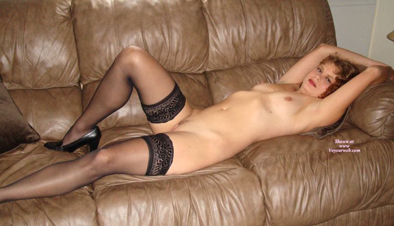 Reclining Long Haired Redhead In Black Stockings - Heels, Landing Strip, Long Hair, Red Hair, Small Tits, Stockings, Trimmed Pussy , Curley Red Hair, Long And Slender, Black Loafer Pumps, Stockings, Black Pumps, Black Sheer Stockings, Lying On Leather Sofa, Laying Naked, Redhead Reclining, Mature