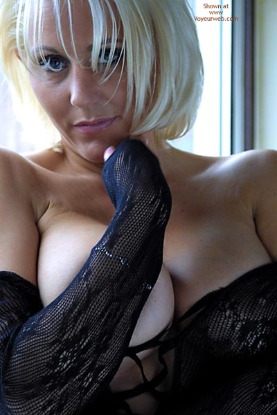 Topless Blonde - Topless Blonde , Topless Blonde, Aluring Look, Milf In Black Lingerie, Topless Short Haired Blonde, Cleavage Picture