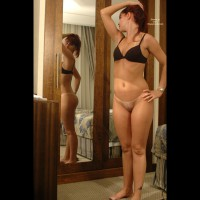 Bottomless Girl In Front Of Mirror - Bottomless, Bra, Mirror Shot, No Panties, Tan Lines , Bottomless Girl In Front Of Mirror, Mirror, Girl Standing, Black Bra, Tanlines, No Panties, Bottomless