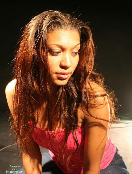 Sexy Black Girl - Brown Hair, Dark Hair, Long Hair , Light Brown Skin, Blue Jeans, Full Lips, Pink Top