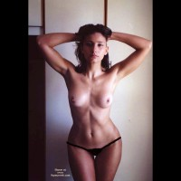 Topless Hourglass Figure Girl - Dark Hair, Topless , Hands Behind Head, Hips And More, Hour Glass