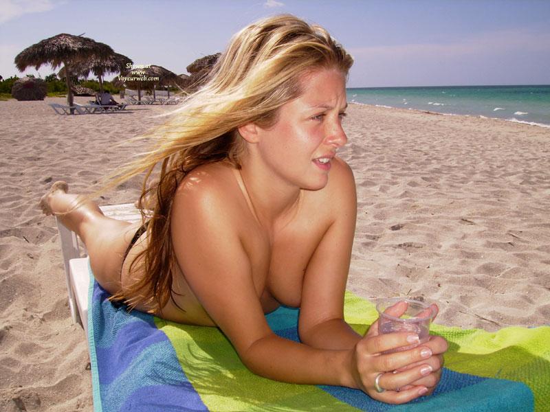 Pretty Face - Blonde Hair, Long Hair, Topless , Enjoying Sun, Long Blonde Hair On The Beach, Blonde On Beach, Lying On Chaise, Young Blonde, Topless Beach, Lying On Beach, Bare Feet
