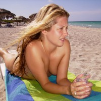 Pretty Face - Blonde Hair, Long Hair, Topless , Enjoying Sun, Long Blonde Hair On The Beach, Blonde On Beach, Lying On Chaise, Young Blonde, Topless Beach, Lying On Beach, Bare Feet