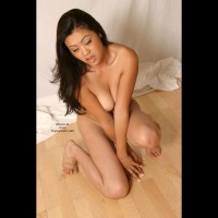 Crouching On The Floor - Cleavage, Eyes Closed , Crouching On The Floor, Eyes Closed, Asian Brunette, Cleavage