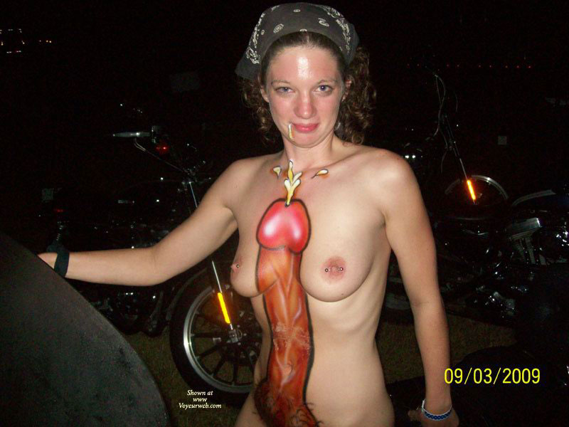 Body Painted Cock - Brown Hair, Pierced Nipples , Huge Cock, Body Painting, Trashy, Body Art, Body Paint, Big Fat Ugly Cock, Fantasy Fest, Standing Up, Curly Brown Hair, Biker Chic