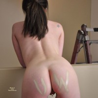 Pierced Pussy - Brunette Hair , Tattoo On Pussy, Butterfly Tattoo, Ass Shot, Long Brunette Ponytail, Tatooed Shoulder, Paint On Her Ass, Piercing From Behind, Rear View Pussy Ring, Vagina Piercing, Unshaved Pussy, Marked Cheeks