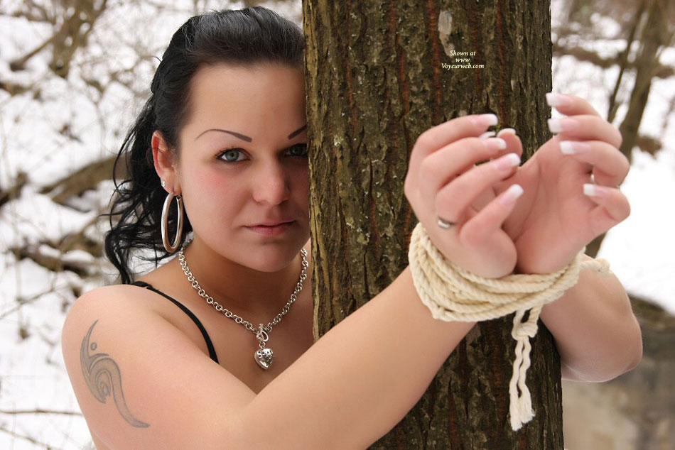 Tied Up Outside - Bondage , Long Nails, Pretty Face, Big Tis, Hoop Earrings, Sexy Gaze, Outdoor Bondange, Bound In The Snow, Tatooed Arms, Tied Up To A Tree, Goregous Fingernails, Tatoo On Right Shoulder, Tattooed Eyebrows, Tied Up Outdoors, Slave Training