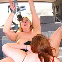 Girls Fun - Lesbian, Nude In Car , Girls Fun, Lesbian Scene, Sex In A Car, Taping Herself, Gg Filming The Action