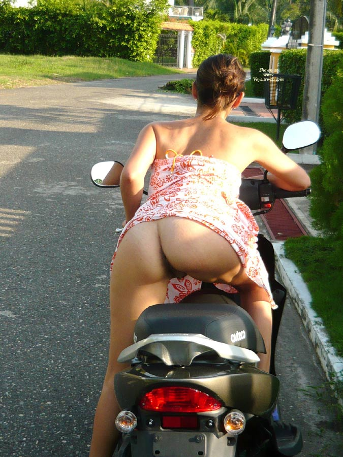 Naked ass on motorcycle