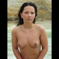 On The Beach - Nipples, Nude Beach, Topless, Looking At The Camera , On The Beach, Topless, Looking At Camera, Topless Near Water, Small Mouth Watering Nipples