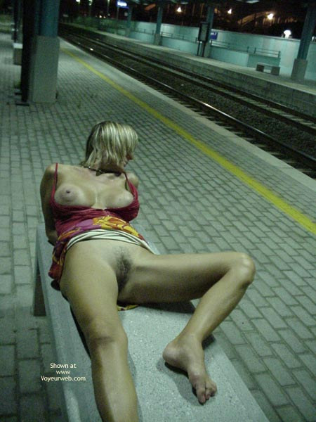 Boobs Out - Large Nipples, Spread , Boobs Out, Laying On Bench, Train Station, Subway Spread, Spread Legs In Public, Large Nipples