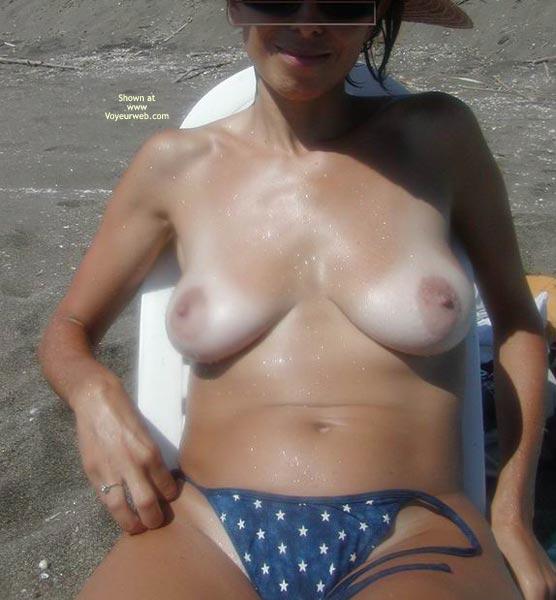 Loose Thong - Erect Nipples, Tan Lines, Thong, Topless Beach , Loose Thong, Beach Babe, Large Areols, Erect Nipples, Topless On Beach, Tanlines