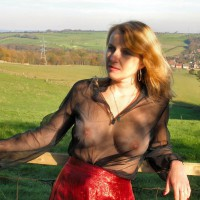 Mature Woman With See Through Blouse - Big Tits, Blonde Hair, Long Hair , Red Vinyl Skirt, See Through Top, Natural Breasts, Standing At The Fence, Sheer Top, Black Sheer Shirt, Long Strawberry Blonde Hair, Beautiful Lady, Beautiful Landscape, Hoop Earrings, Natural Breast, Posing Against Fence, Posing Outside, Seethru, Necklace, Tits Under Clothing, Blond, See Through