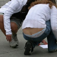 Street Panties , Upskirt, Losing Her Pants, Kneeling Girl With Ass Crack Showing, Visible Butt Crack Peeking Over Lace Panty, Ass Teaser, Blue Low Rise Jeans, Butt Crack, Blue Denim Jeans, Lace Panties, Street Voyeur, Kneeling Girl Showing Ass