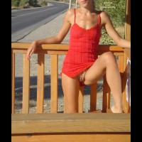 Nopanty Upskirt - Leg Up, Red Dress, Small Breasts , Nopanty Upskirt, Leg Up, Bare Bush Peek, Sexy Red Dress, Summer Dress Surprise, Exposed Pussy Outdoors, Skinny, Small Breasts