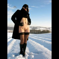 Bottomless Outdoor Snow Shot - Bottomless, Brunette Hair, Shaved Pussy, Stockings, Hairless Pussy, Hot Wife , Black Coat, Snow Field, No Panties, Black Winter Coat, Gloves, Scarf And Shades, Snowy Pussy Shot, Smooth Exposed Pussy, Winter Exposure, Overcoat Open From Waist Down, Hose Gloves Hat Boots, Black Thigh-highs In The Swon