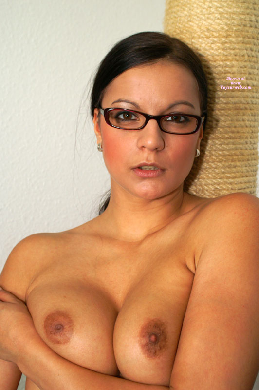 Topless Beauty In Glasses - Topless , Topless With Glasses, Closeup, Looking Into Camera, Topless Protrait, Beautifull Eyes, Looking Teasing, Rings On Pierced Ears, Boobs Together, Teacher Look, Glasses, Boobs Pushed Together, Brown Eyes