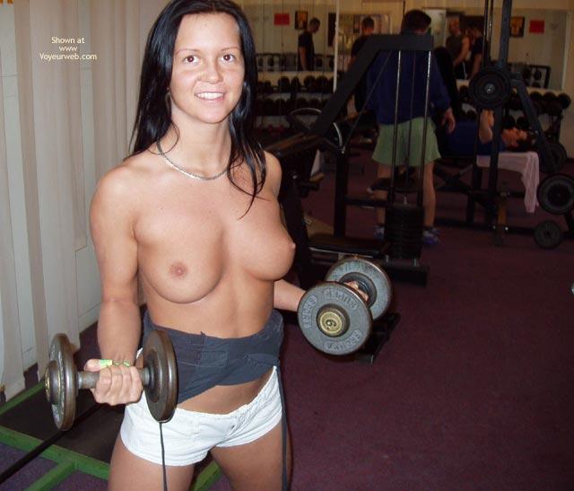 Topless Lifting At Gym - Topless , Topless Lifting At Gym, Topless Gym, Lifting Weights Topless, White Shorts