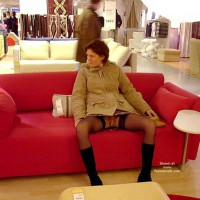 Nylons - Boots, No Panties , Nylons, No Panties, Spread Legs In Public, Up Skirt On Couch, Boots, Sitting