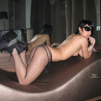 Doggie Style On Lounger - Heels, Perky Tits, Stockings, Sunglasses , Fishnet Bodystocking, Arched On Knees And Elbows, Wearing Sunglasses, Mirror Shot, Sofa Posing, Fishnet And High Heels, Black Fishnet Pantyhose, Fishnet, Black Fishnet Stockings, Sun Glasses, Black Sunglasses