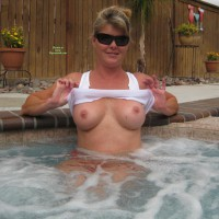 Flashing In The Hottub - Big Tits, Erect Nipples, Flashing Tits, Flashing, Sunglasses, Hot Girl , Big Round Tits, Freckly Chest, Peekaboo, Alone In The Hot Tub, Hot Tub Floaties, Girl In Hottub, Hot Tub Breasts, Freckles In The Tub, Flash Tits, Hot Tub Flashing