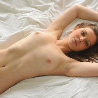 Very Sexy Nude Girl In Repose - Brown Eyes, Brown Hair, Long Hair, Hot Girl, Naked Girl, Nude Amateur, Sexy Body, Sexy Face, Sexy Figure , Amazing Eyes, Beautiful Face, Arms Over Head, Flat Stomach, Little Tits, Nude On A Sheet, Lying On A Bed Naked With Arm Above Head, Lying Ona Bed Nude