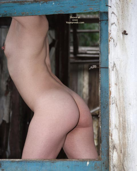 Small Titties - Pierced Nipples, Small Tits , Small Titties, Slender Figure, Posing Naked In Collapsed House, Pierced Nipple, Ass Framed In Window