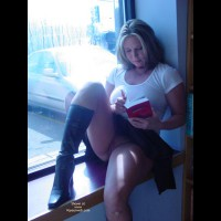 Black Boots - Blonde Hair, Boots, Shaved, Upskirt , Black Boots, White T-shirt, Relaxed, Upskirt, Blonde, Window, Boots, Sitting, Sitting Pantilesss, Reading, Shaved
