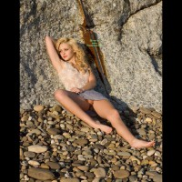 Sexy Girl - Blonde Hair, Brown Eyes, Long Hair, Shaved Pussy, Sexy Legs , Blond Upskirt, Blond On Beach, Pussy Peek, Upskirt On Beach, Lying Against A Rock, Sweet Shaved Pussy, Outdoor Upskirt, Pink Pussy, Brown Eyes, Baby Doll Face