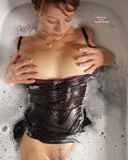 Wet Black Babydoll - Big Tits , Playing With Breasts, Pantieless, Black Babydoll, Big Wet Tits, Flat Stomach, Wet Lingerie, Wedding Ring, Bubble Bath, Tits In Tub, Wet Babydoll