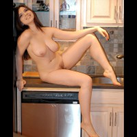 Nude Counter Girl - Hairy Bush, Pierced Nipples, Naked Girl, Nude Amateur, Nude Wife , Shaved Fanny, Short Bush, Arched Foot, Sitting On Counter, Sitting In Kitchen Table, Pendulous Tits