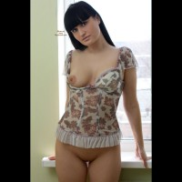 Sexy Girl One Breast Exposed - Black Hair, Dark Hair, Long Hair, Shaved Pussy, Bald Pussy , Looking Into Camera, Classy Girl, Large Areola, I'm Free To You, Bottomless