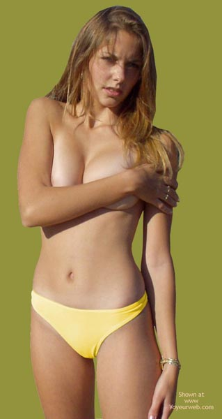 Green Screen Cutout , Green Screen Cutout, Yellow Bikini Bottom, Long Blonde Hair, Covering Her Tits