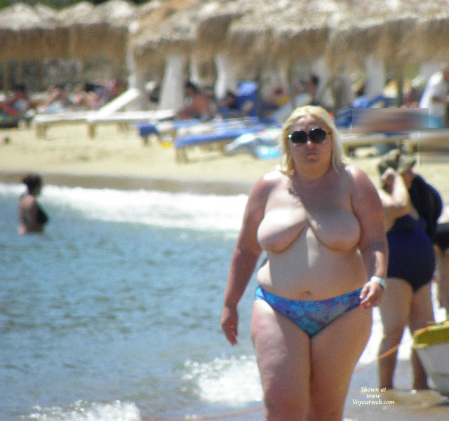 Pic #1Topless Wife:Walking At The Beach