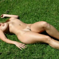 Public Show - Huge Tits, Landing Strip, Nude Outdoors, Tan Lines , Public Show, Large Tits, Laying On Grass, Tan Lines, Landing Strip, Nude Outdoors