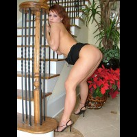 Bent Over - Bend Over, Heels, Looking Over Shoulder , Bent Over, High Heels, Redhead Near Bars, Redhead With Dress Around Waist, Redhead Looking Over Shoulder