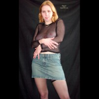 Short Denim Skirt - Fishnet, Pale Skin, Skirt , Short Denim Skirt, See-through Top, Fishnet, Pale Skin, Denim Skirt, Looking At Camera