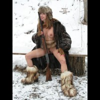 Licking A Shotgun , Licking A Shotgun, Nude In Snow, Nude Wth Gun, Fur Boots, Furry Boots And Little Else, Pink Fingernails, Fur Coat
