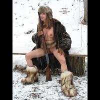 Licking A Shotgun , Licking A Shotgun, Nude In Snow, Nude Wth Gun, Fur Boots, Furry Boots And Little Else, Pink Fingernails, Fur Coat