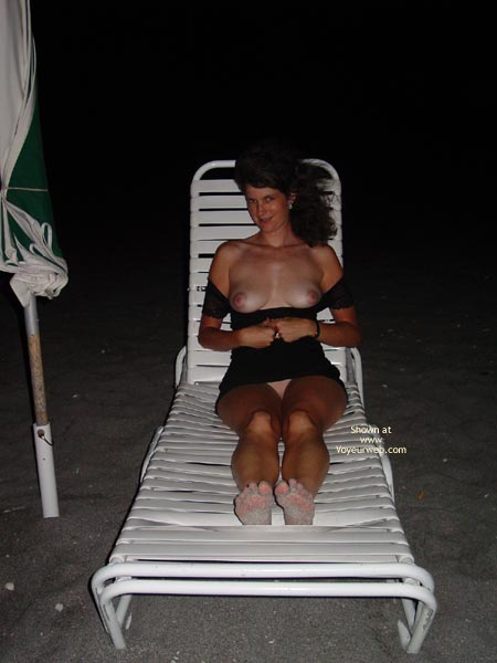 Shoulder Length Brunette - Flashing Tits , Shoulder Length Brunette, Beach At Night, Flashing Tits, Black Dress Pulled Down