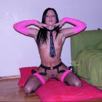 Fish Net - Black Hair, Dark Hair, Small Breasts, Small Tits , Fish Net, Garter, Leather, Small Breast, Dark Hair, Sexy Lingerie, Sexy Tie, Pink Gloves And Stockings, Necktie, Fishnets, Small Tits, Black Hair