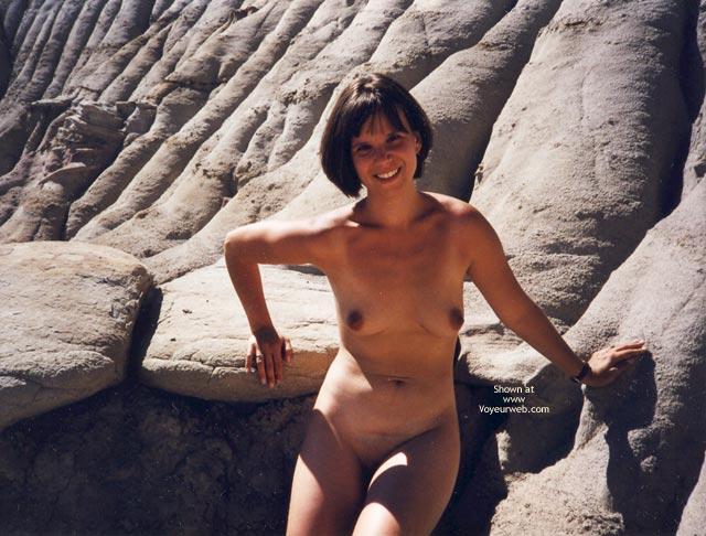 Dark Nipples - Brunette Hair, Dark Nipples, Naked Outdoors, Nude Outdoors , Dark Nipples, On The Rocks, Brunette, Naked Outdoors