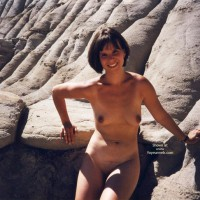 Dark Nipples - Brunette Hair, Dark Nipples, Naked Outdoors, Nude Outdoors , Dark Nipples, On The Rocks, Brunette, Naked Outdoors