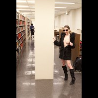 Library Tit Flash - Exhibitionist, Flashing, Naked Girl , Braless, Black Fur Coat, Black Coat, Standing With Coat Half-open, Library Tittie Flash, Black Booots And Tits In Library, Wearing Sunglasses, Flashing In Library, Boots And Trenchcoat, Black Boots