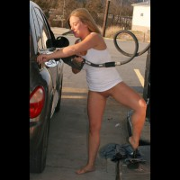 Hot Girl At The Gas Pump - Blonde Hair, Exhibitionist, Long Hair, Shaved Pussy, Bald Pussy, Girlfriend Pussy, Hairless Pussy, Hot Girl, Naked Girl, Nude Amateur , Blonde Moment At The Pump, Medium Breasts, White Tank Top, Blue Jeans Off, Dropped Her Shorts, Dropping Pants, Bottomless