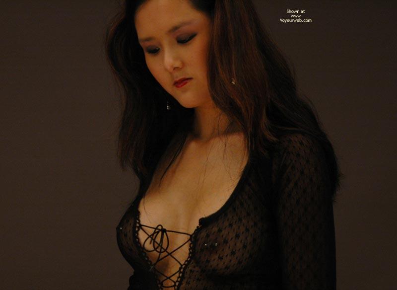 Long Brown Hair - Long Hair, Pierced Nipples, Red Lips , Long Brown Hair, Shy Erotic, See Through Black Shirt, Pierced Nipples, Red Lipstick, Butterfly