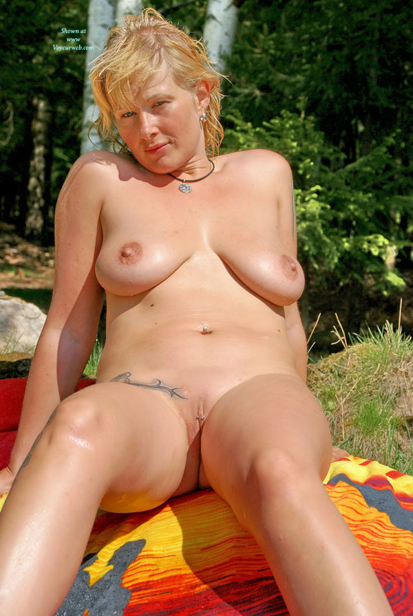Sunbathing Nude With Pierced Pussy - April, 2010 - Voyeur -9616