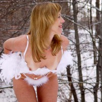 Nude In Nature - Nude In Nature , Nude In Nature, White Feathers, White Fur Trimed Lingerie Pulled Down